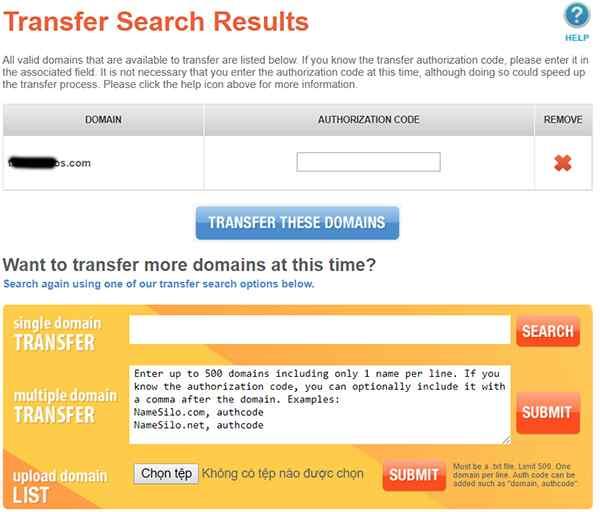 Transfer tên miền về Namesilo