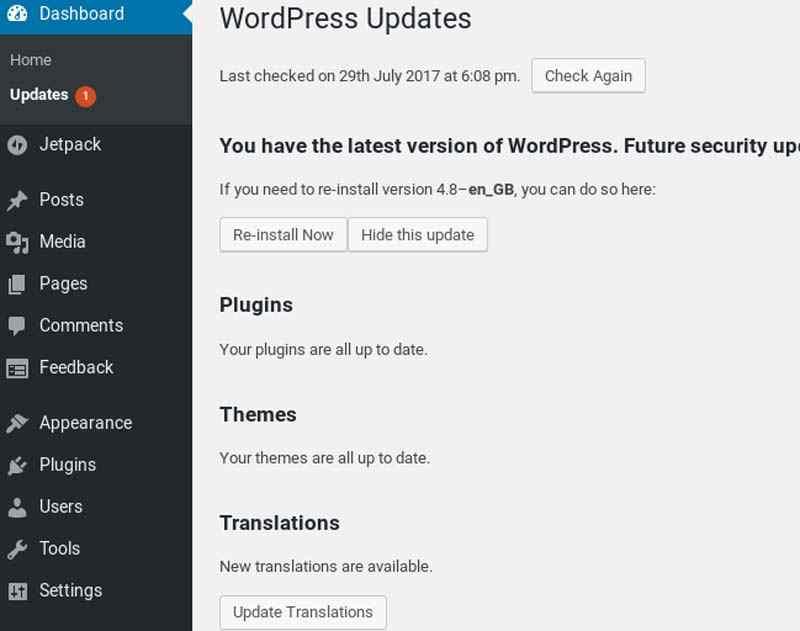 Sửa thông báo cập nhật sai WordPress