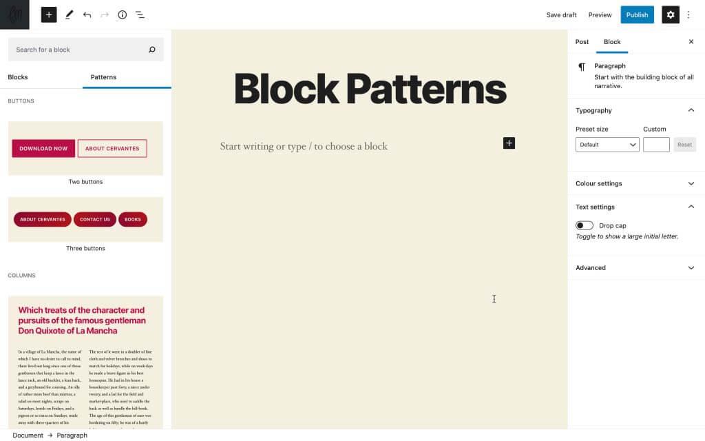 Bổ sung thêm block pattern