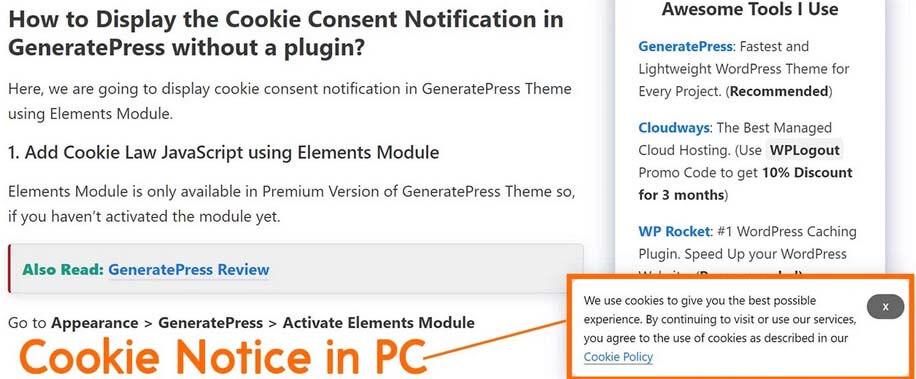 Chèn code cookie notice Wordpress không cần plugin