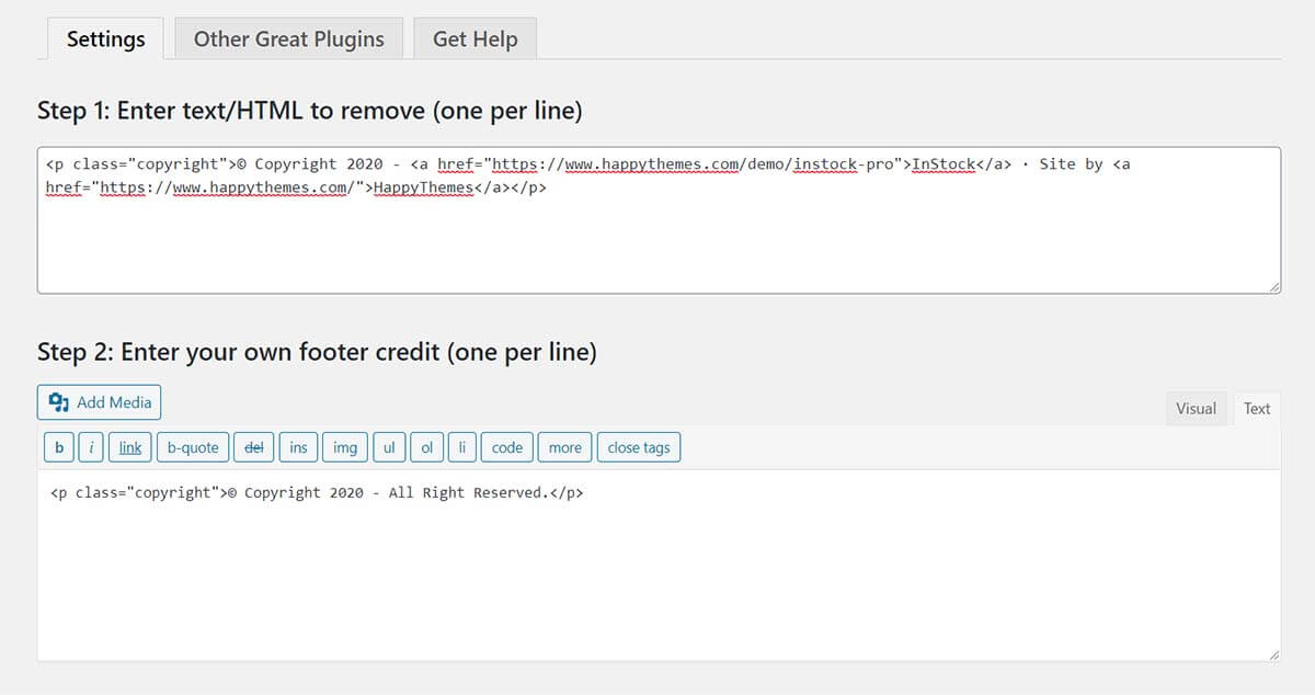 Dùng plugin Remove Footer Credit