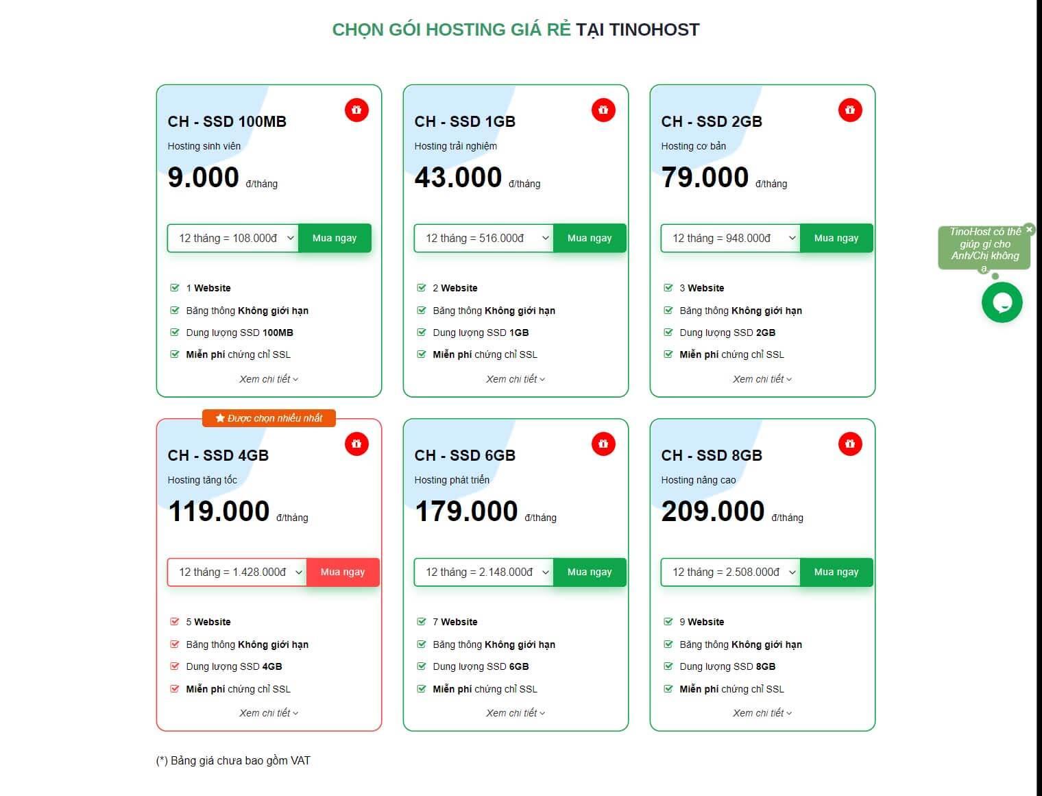 Các gói hosting ở TINO host