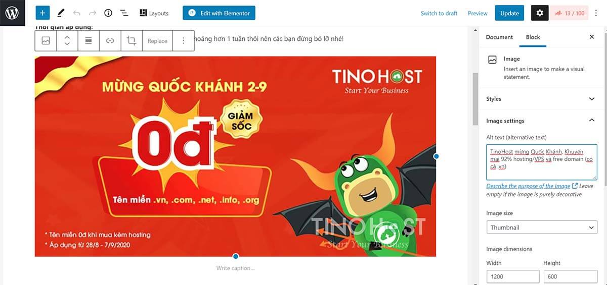 Chèn thẻ Alt text (alternative text) chuẩn seo img