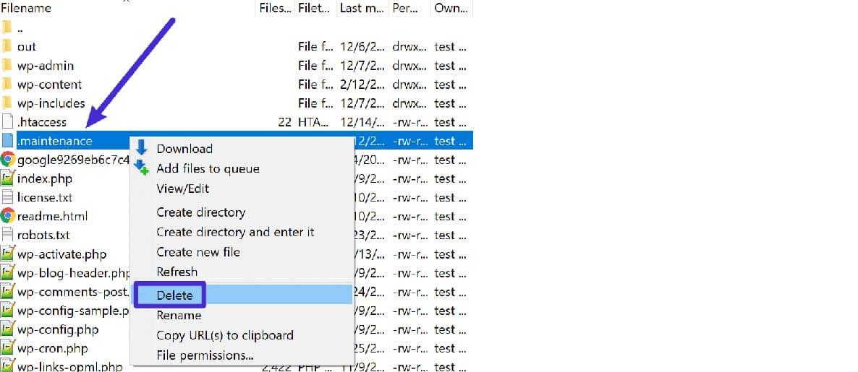 Tìm kiếm file .maintenance và xóa nó đi