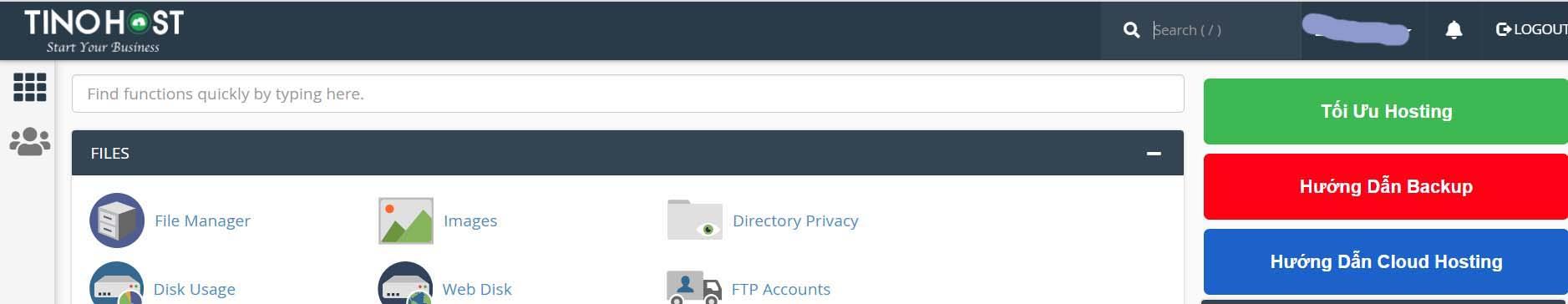 trang quản lí Cpanel dễ nhìn và có một vài tùy chỉnh để phù hợp với người mới dùng hosting