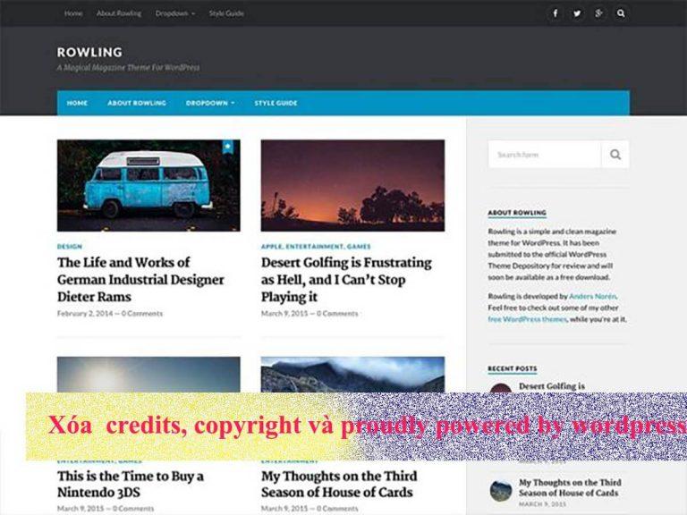 Xóa bản quyền credits, copyright và proudly powered by wordpress