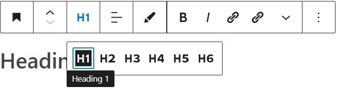 Chèn thẻ H1 trong bài viết sử dụng Gutenberg