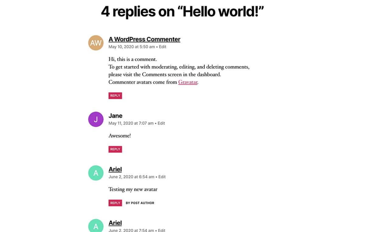 Letter Avatars đẹp hiển thị comment avarta trong wordpress