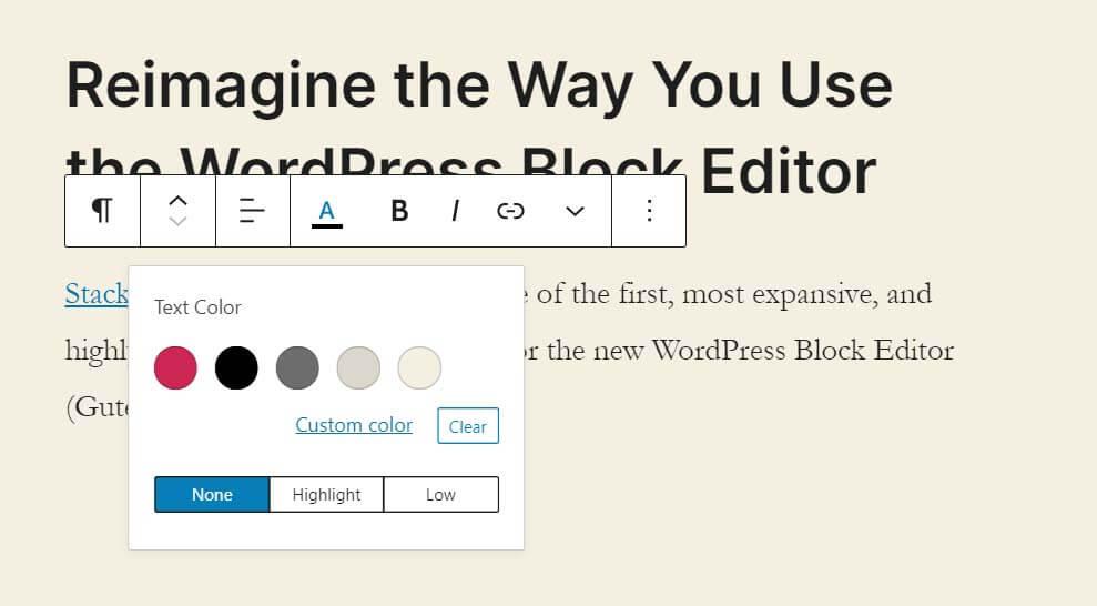 Tiện ích Stackable có nút Highlight Text Toolbar