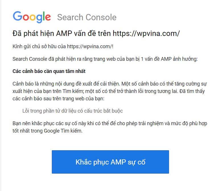 lỗi schema AMP