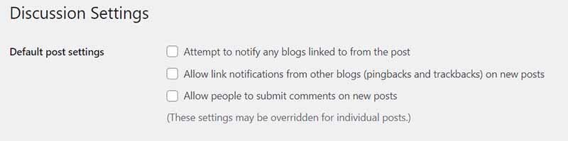 Cách tắt chức năng comment trong wordpress phần Discussion Settings